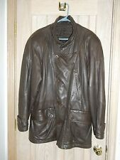 GIANFRANCO FERRE Brown Leather 4 Button/6 Snap Lined Long Jacket Coat Size IT 50