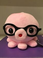 "6"" Cute Glasses Octopus Plush Pink"