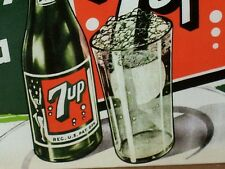 SEVEN UP 7 UP - Gas Station OLD SIGN - Dated 2001-Shows Girl on Bottle & Bubbles