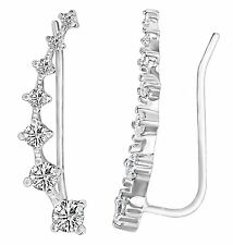 Elensan 7 Crystals Ear Cuffs Hoop Climber S925 Sterling Silver Earrings...