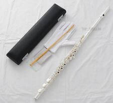 Professional Silver C Key Flute 17 Open Holes B Foot Split E Offset G With Case