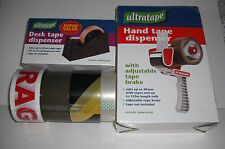 MIX & MATCH TAPE DISPENSER +TAPE,+ METAL TAPE GUN 1 BROWN,HAZARD & FRAGILE TAPE