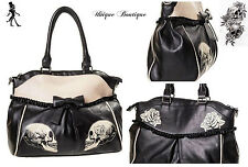 *  BANNED GOTHIC SKULL ROSES FAUX LEATHER LACE SHOULDER BAG HANDBAG *