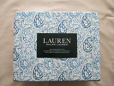 NEW 4pc Ralph Lauren Queen Sheet Set French Country Paisley Blue & White