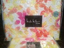 NICOLE MILLER F/ QUEEN QUILT SET 3PC WATERCOLOR LEAVES NATURE YELLOW ORANGE PINK