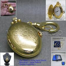 GOLD Oval Nostalga Ladies Pendant Watch Quartz Key Chain Necklace Gift L34