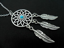 "A LOVELY TIBETAN SILVER  DREAMCATCHER NECKLACE ON 30"" CHAIN. NEW."