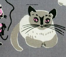 1 Fat Qtr Tammis Keefe Tribute CATS DS4721 1950's Retro Gray Pink Felines Fabric