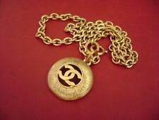 AUTH Chanel vintage CC logo pendant w/ chain necklace