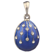 Faberge Egg Pendant / Charm with crystals 2.3 cm blue #0805-11