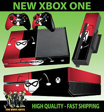 XBOX ONE CONSOLE STICKER HARLEY QUINN LOGO RED BLACK BATMAN SKIN & 2 PAD SKINS