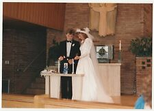 Vintage 80s PHOTO Wedding Couple In Church Lighting Candles