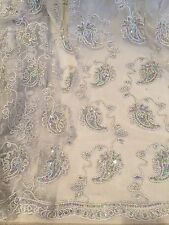 "WHITE SILVER METALLIC EMBROIDERY MULTI SEQUINS BEIDAL LACE FABRIC 48"" WiIDE 1 YD"