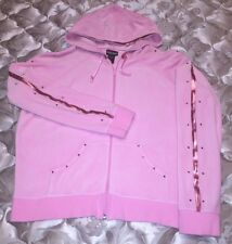 Bisou Bisou Michele Bohbot Pink Velour Jacket With Satin Trim & Rhinestones