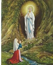 Catholic Print Picture Our Lady of Lourdes w/ St. Bernadette 8x10 ready to frame
