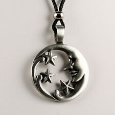 Moon Star Necklace With Black Cord Pewter Metal Pendant Mens Womens New Hippie