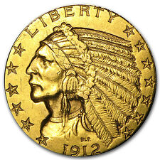 $5 Indian Gold Half Eagle Pre-33 Gold Coin - Random Year - Cleaned - SKU #23212
