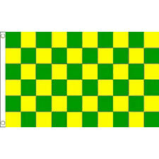 Green And Yellow Check Small Flag 3Ft X 2Ft Chequered Sports Banner New