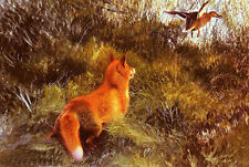Oil painting Bruno Andreas Liljefors - eluding the fox wild animals in landscape