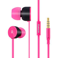 Kanen In Ear Girls Earphones with Mic for Smartphone iPhone iPod iPad MP3/4 Pink