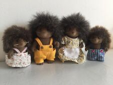 Vintage Sylvanian Families 4 Figures Hedgehog Bramble Family Set VGC