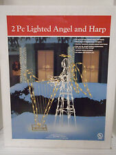 "2 Piece 36"" Lighted Indoor Outdoor Angel & Harp"