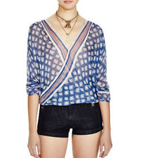 New Free People Before Dawn Wrap Front Blue Tan Coral Casual Top Shirt Blouse S