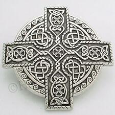 """CELTIC Knot Work KINGS CROSS CLOAK BROOCH PIN Celtic KnotWork """"Heavy & Solid"""""""