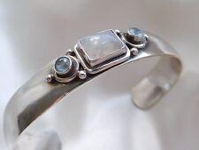 Silber Armreif mit Mondstein und Blautopas, Silber 925 massiv