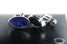 MONTBLANC CLASSIC STERLING SILVER CUFFLINKS OVAL SODALITE NEW BOX GERMANY 107894