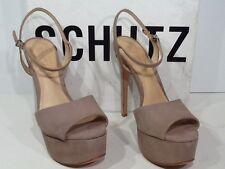SCHUTZ Women's Rebecca Size 7 Neutral Suede Platform Ankle Strap Sandals X2-199