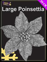 20cm Glittery Silver Clip On Poinsettia Christmas Decoration (DP2)