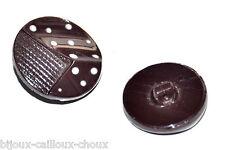 1 BOUTON ancien années 50 en PATE DE VERRE marron à pois blancs 18mm button