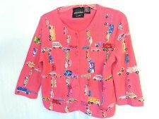 Michael Simon Pink Sweater Cardigan Colorful Beads Sequins Size Small Women's