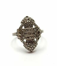Vintage 925 Silver MARCASITE ART DECO STYLE COCKTAIL CLUSTER RING 3.8g N 1/2