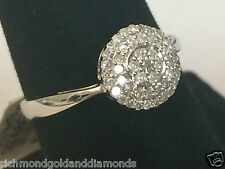 White Gold Flower Double Halo Vintage Antique Diamond Engagement Promse Ring