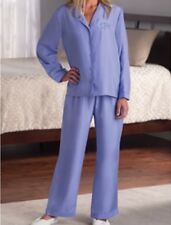 Lady's Hammacher Schlemmer Washable Silk Pajama Periwinkle Blue Small Pant Shirt