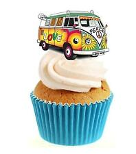Novelty Camper van Love Bus 12 Edible Stand Up wafer paper cake toppers birthday