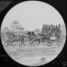 Glass Magic Lantern Slide THE MAIL COACH C1890 DRAWING
