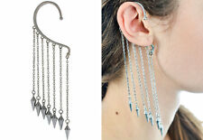 Brand New Pair Fashion Gothic Silver Spike Dangle Ear Wrap Earring UK Brands