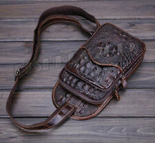 Men's Vintage Genuine Leather Messenger Shoulder Bag Travel Climb Chest BackPack