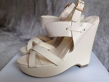 Ladies Wedge heel summer sandals in pink, cream and blue size 6