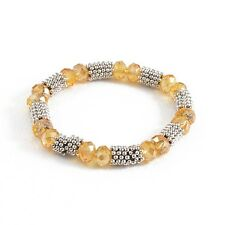Yellow Faceted Crystal Style Bead Silver Tone Fashion Jewelry Stretch Bracelet