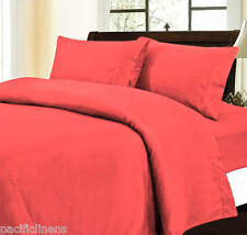 Queen Red 500TC 4Pc 100% Cotton Bed Sheet Set Flat and Fitted Sheets