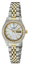 Citizen EQ0534-50D Women's Two Tone Swarovski MOP Dial Day Date Watch