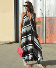 ZARA MAXI LONG  STRIPES DRESS BLUE/BLACK SIZE M 10