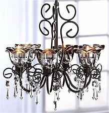 Bewitching ** MIDNIGHT BLOOMS CRYSTAKS 6 CANDLE HOLDER CHANDELIER & CHAIN ** NIB