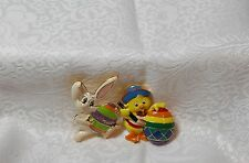 EASTER THEME PINS - RABBIT & BABY CHICK WITH COLORED EGGS = SET OF 2 - ENAMEL