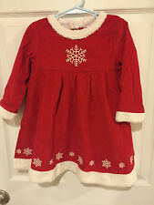 Hanna Andersson Girls 90 2T 3T Snowflake White Red Corduroy Dress Xmas Holiday