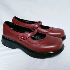 Dansko 39 Clogs Cherry Red Buckle Strap Mary Janes Leather Womens Occupational
